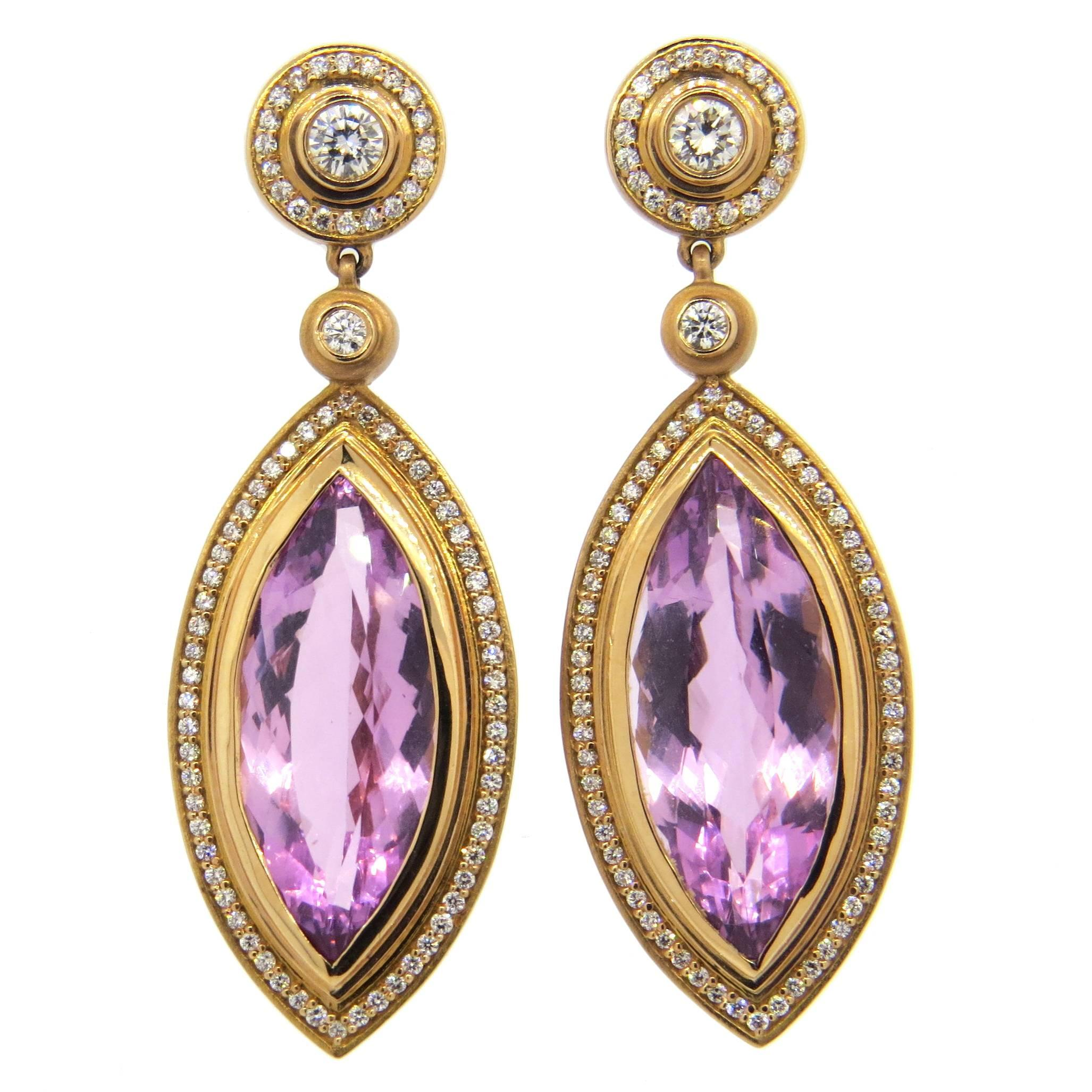 portfolio diamonds with kunzite o gold earrings bernard delettrez and drop pav