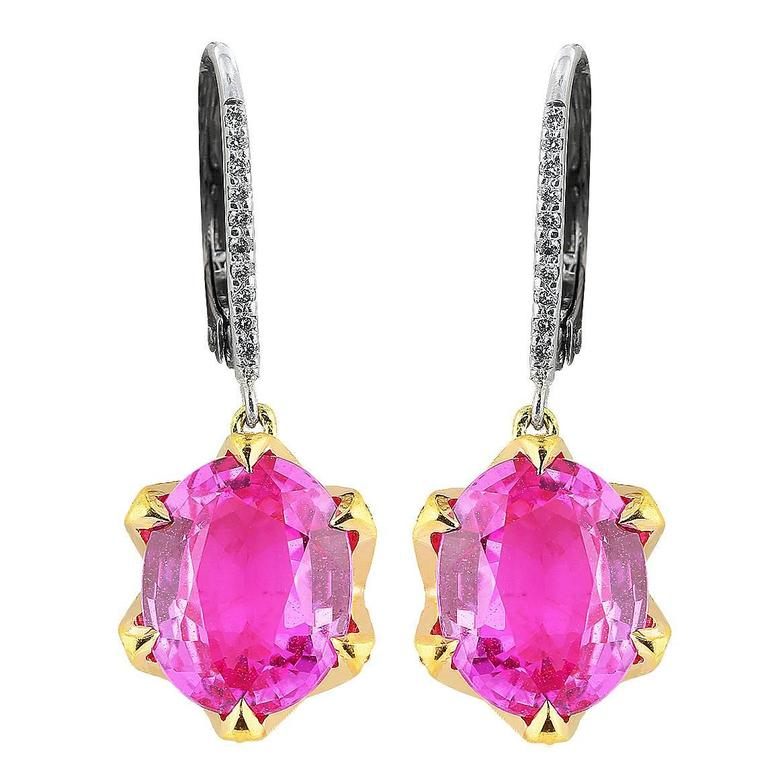 8.02 Carat  Pink Sapphire Diamond Gold Platinum Drop Earrings