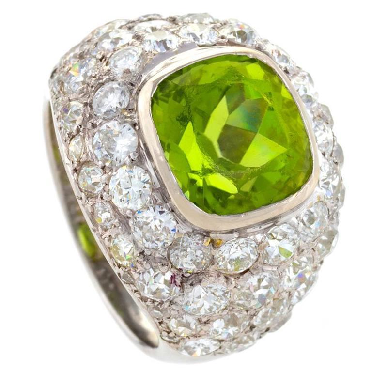 René Boivin Paris 1930's Art Deco Peridot Diamond Gold Ring