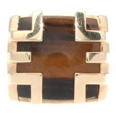 Cartier Tiger's Eye Gold Cage Ring