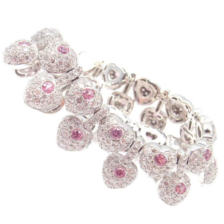 Pasquale Bruni Vanita Pink Sapphire Diamond Gold Heart Bracelet