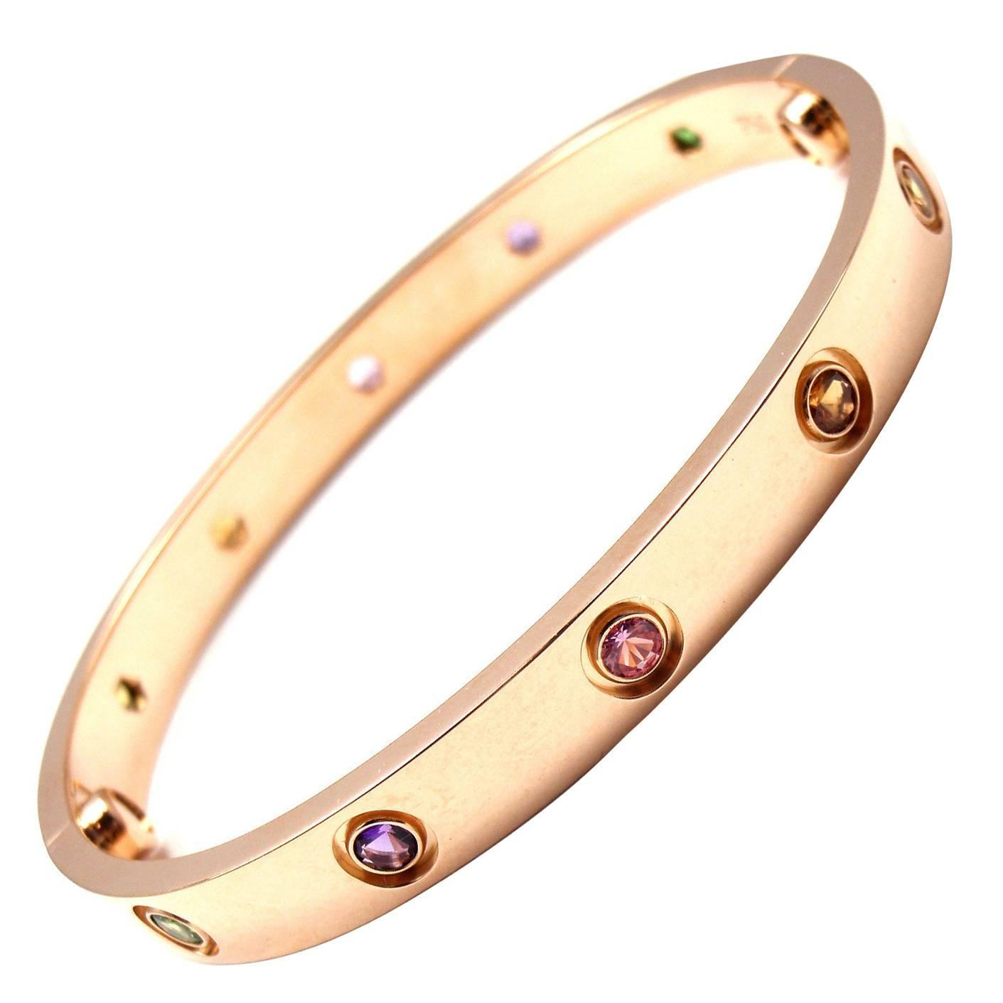 bangles pink bangle serviced box screw cartier gold size new rose love bracelet terrafinejewelry products