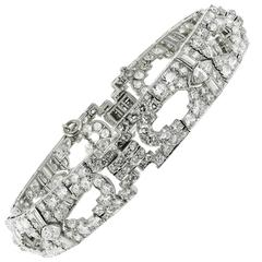 Art Deco Diamond Platinum Link Bracelet