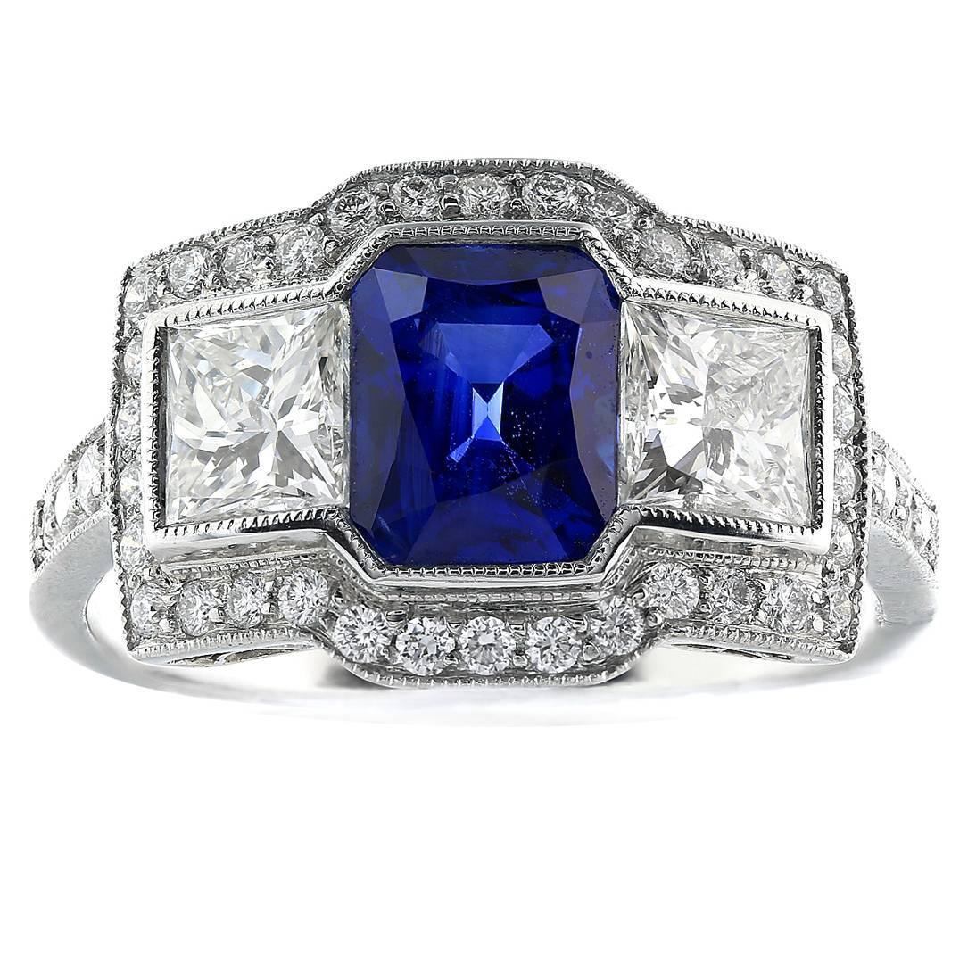 1 73 carat emerald cut sapphire engagement ring at