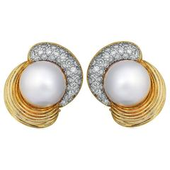 Pearl Diamond Gold Clip Earrings