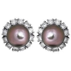 Tahitian Pearl Diamond Gold Cluster Earrings