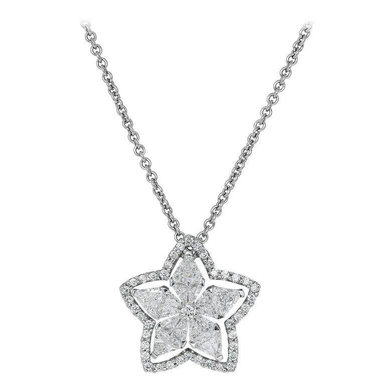 1.51 Carat Diamond Gold Star Pendant