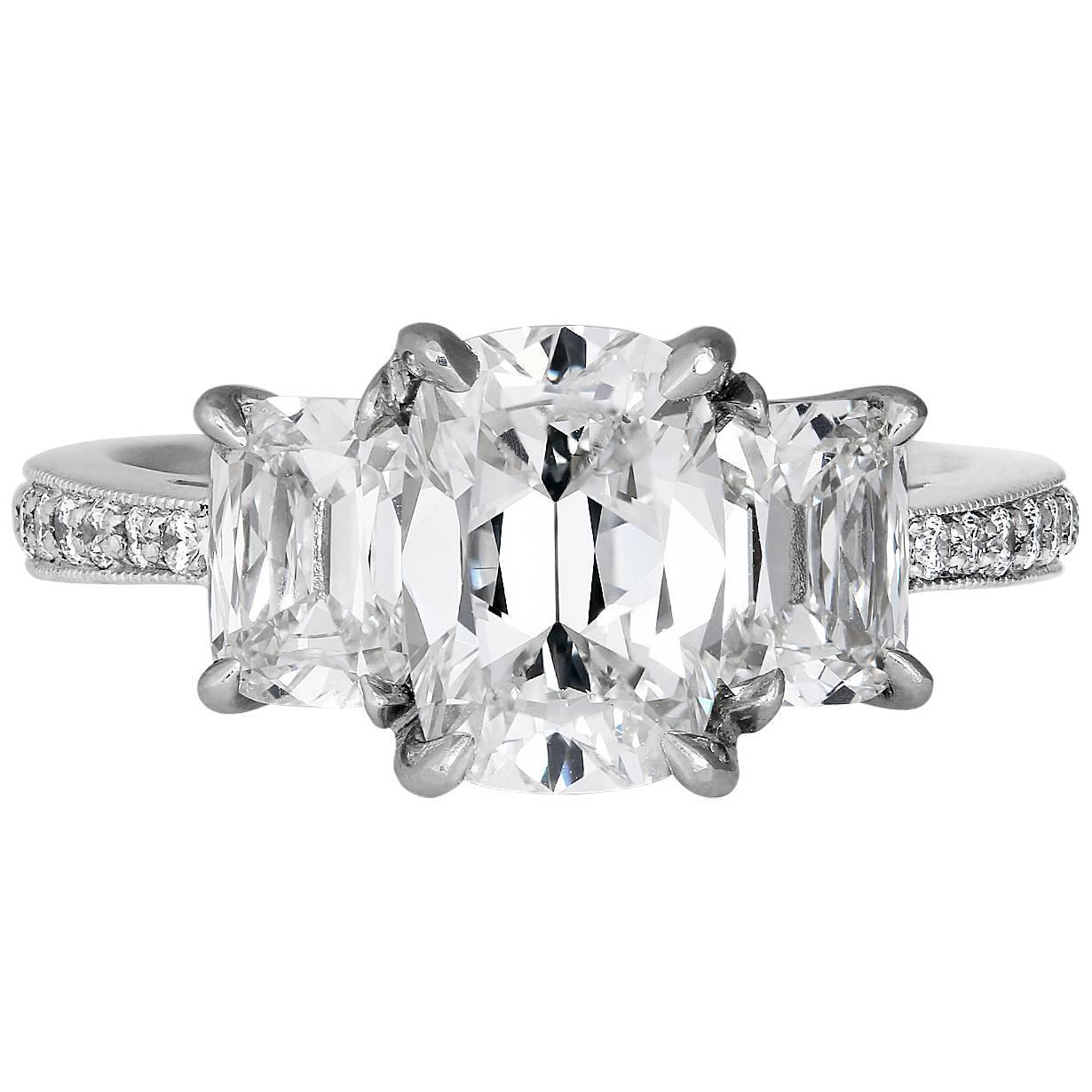 3 00 Carat Cushion Cut 3 Stone Diamond Platinum Ring at 1stdibs