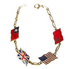 1945 World War II flag motif bracelet