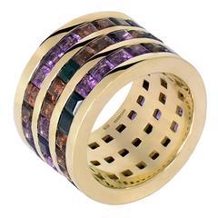 Garnet Amethyst Black Sapphire Gold Band Ring