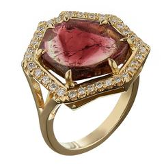 TPL Gold Watermelon Tourmaline Diamond Ring