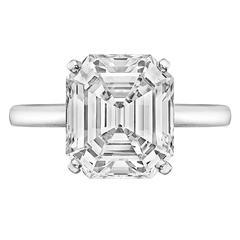 Graff 4.34 Carat Emerald-Cut Diamond Solitaire Engagement Ring