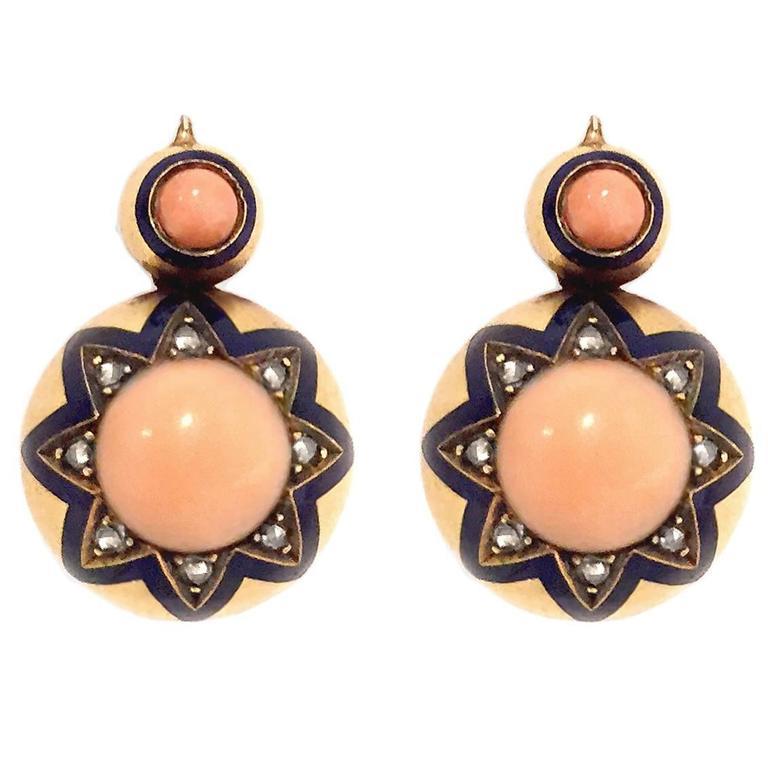 Victorian Coral Enamel Diamond Gold Earrings 1