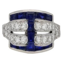 Art Deco sapphire and diamond ring by Tiffany & Co, American, circa 1935.