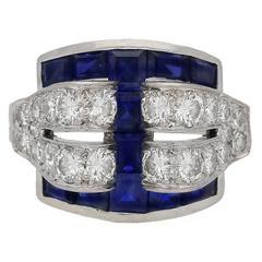 Art Deco sapphire and diamond ring by Tiffany & Co, American, circa 1935.