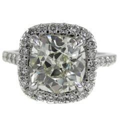 2.65 Carat Antique Cushion Diamond Gold Engagement Ring