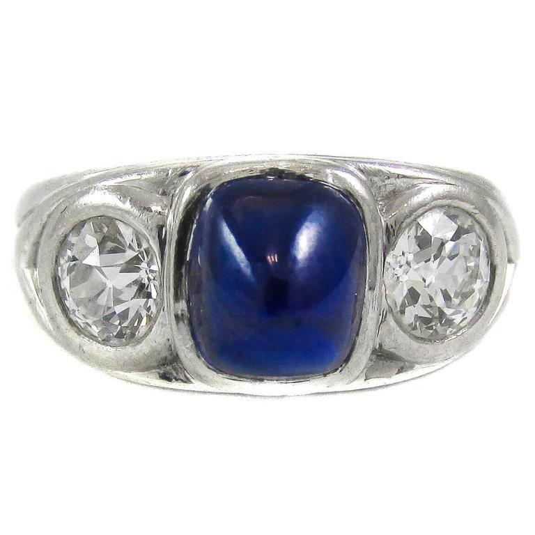 Tiffany and Co. Art Deco Cabochon Sapphire Diamond ...