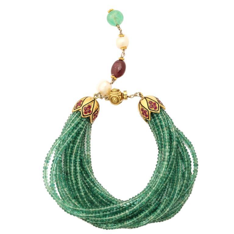 Unique Emerald Bead Bracelet For Sale