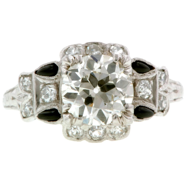 deco 1 41 carat onyx engagement ring at 1stdibs