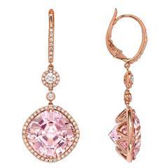 Pink Tourmaline Diamond Gold Drop Earrings
