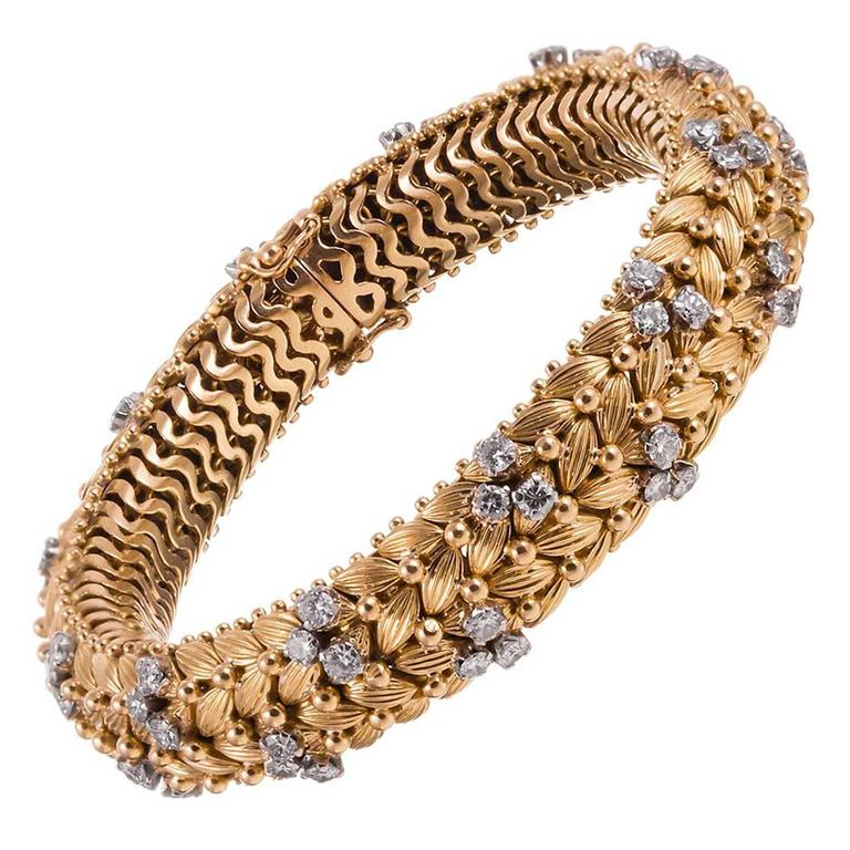 1960s Diamond Gold Woven Bracelet For Sale