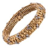 1960s Diamond Gold Woven Bracelet