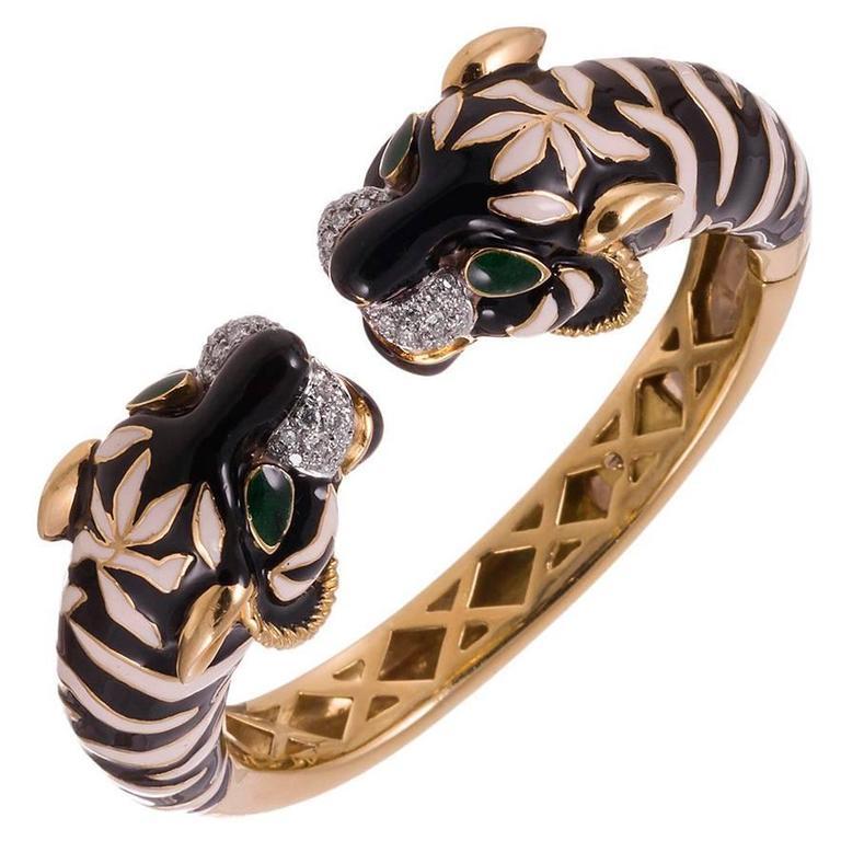 1970s Enamel Diamond Gold Tiger Cuff Bracelet