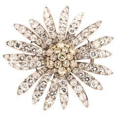 1960s Large Diamond Daisy Flower Brooch