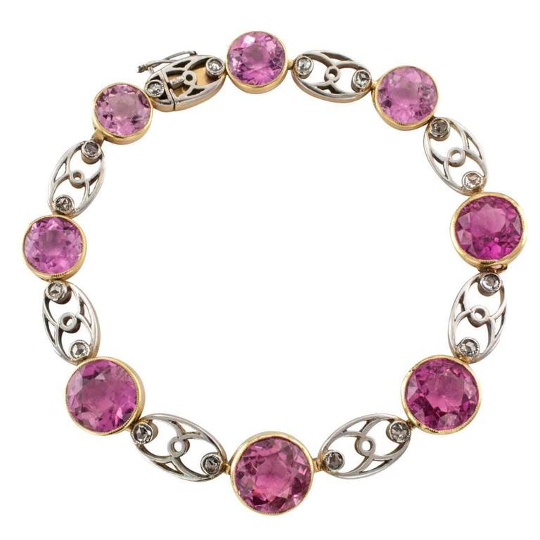 Edwardian Pink Tourmaline Rose-Cut Diamond Gold Platinum Bracelet