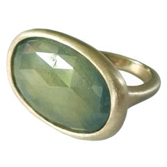 Dalben One of a Kind Green Faceted Sapphire Satin Gold Ring