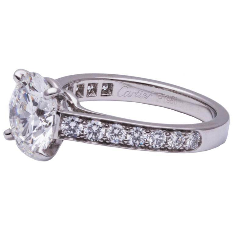 Cartier GIA Cert 3.04 Carat Diamond Platinum Engagement Ring 2