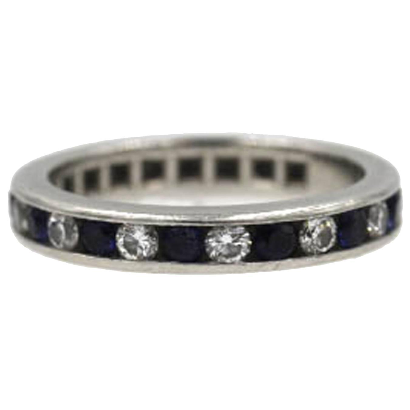 Tiffany and Co Sapphire Diamond Platinum Wedding Band Ring at 1stdibs