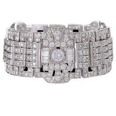 Wide Diamond Plaque Strap Bracelet