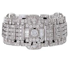 French 1930s Art Deco Diamond and Platinum Bracelet