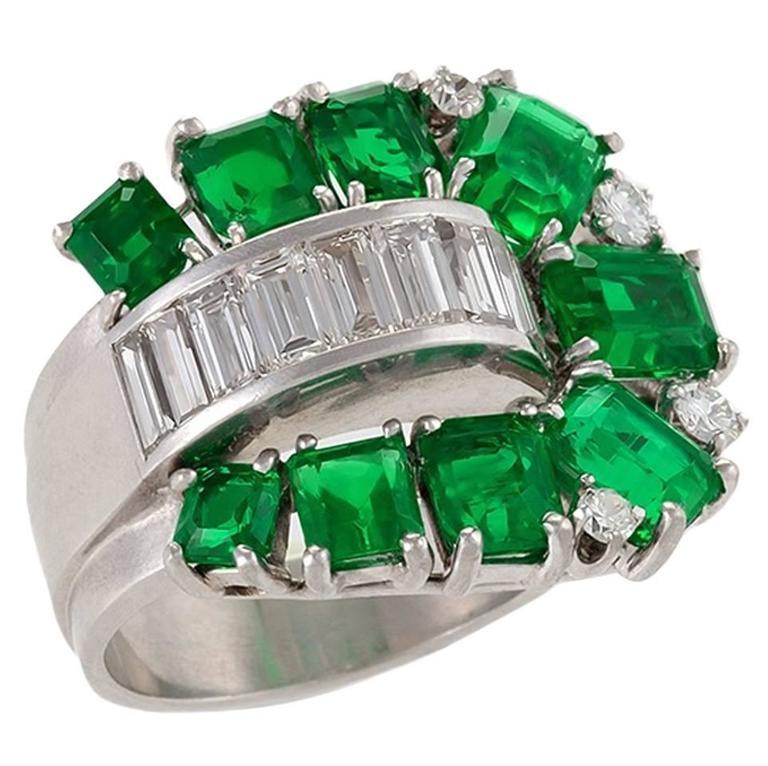 Retro Diamond Emerald and Platinum 'Buckle' Ring