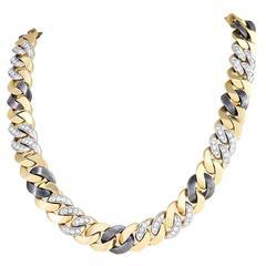 Bulgari Late 20th Century Diamond Gold and Gun Metal Necklace