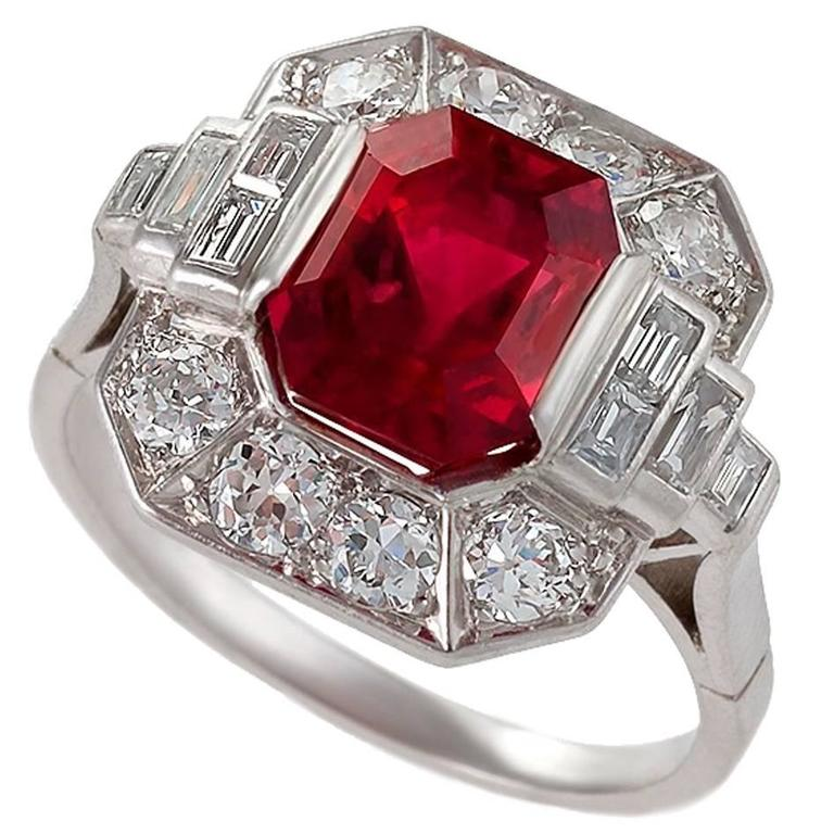 1930's Art Deco Red Spinel, Diamond and Platinum Ring