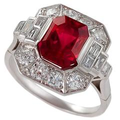 1930s Art Deco Red Spinel, Diamond and Platinum Ring