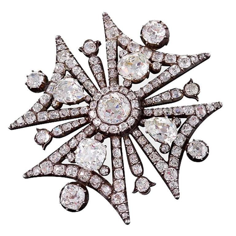 Antique Victorian Diamond Maltese Cross Brooch For Sale