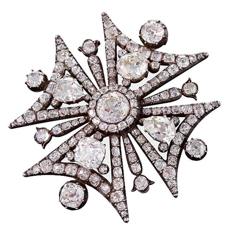 Antique Victorian Diamond Maltese Cross Brooch For Sale at