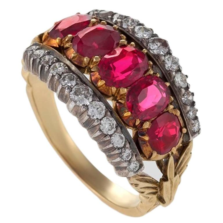natural item rose wedding gold vintage antique ring solid bands set rings women bezel ruby engagement red