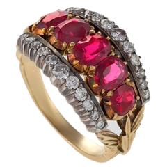 French Antique Ruby Diamond Silver Top Gold Ring
