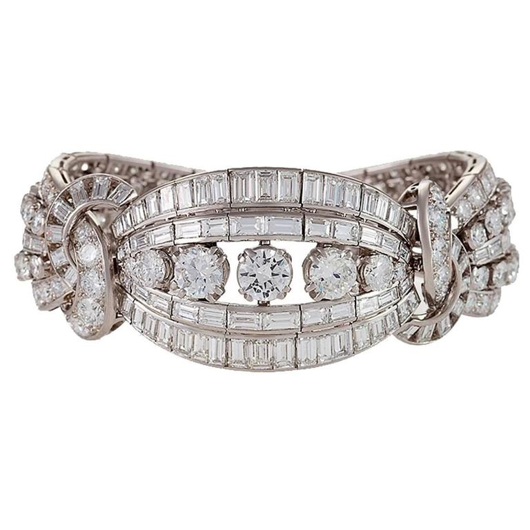 Mellerio dits Meller Retro Diamond and Platinum Bracelet 1