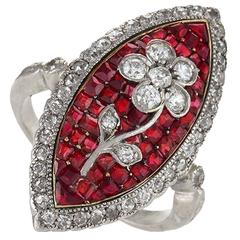 Edwardian Diamond, Ruby, Platinum and Gold 'Navette' Ring