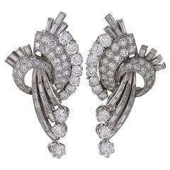French 1950s Diamond and Platinum Earrings