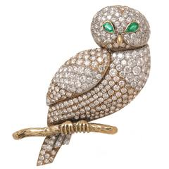 Large French Emerald Diamond Gold Owl Brooch