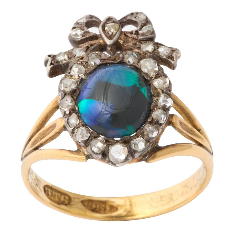 Adoration in a Sumptuous Black Opal Heart Ring For Sale