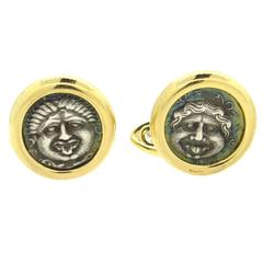 Bulgari Monete Gold Ancient Coin Cufflinks  Mysia- Parion,  4th cent. B.C.