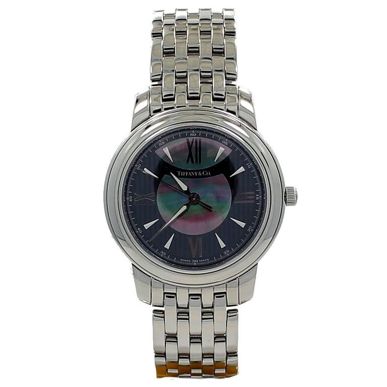 Tiffany & Co. Lady's Stainless Steel Mother of Pearl Dial Quartz Wristwatch