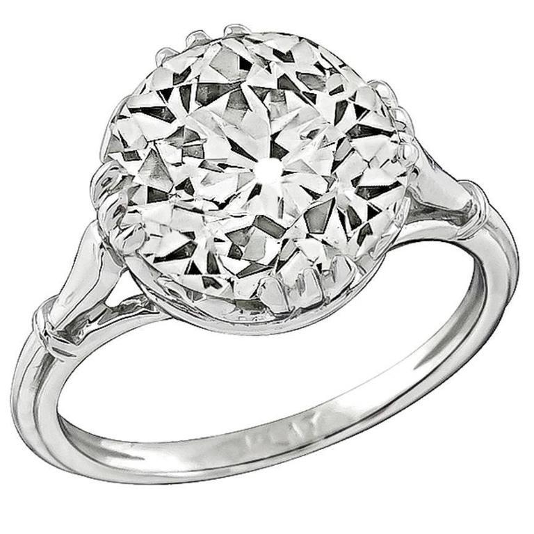 5.02 Carat Old European Cut Diamond Platinum Engagement Ring